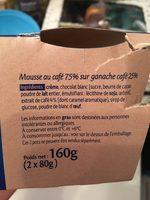 Mousse au cafe sur ganache Café - Ingrédients