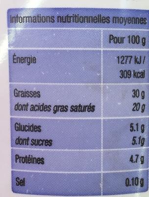 Crème fraîche épaisse (30% MG) - Voedingswaarden