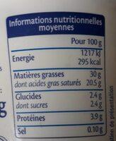 Crème fraiche au lait de brebis - Voedingswaarden - fr