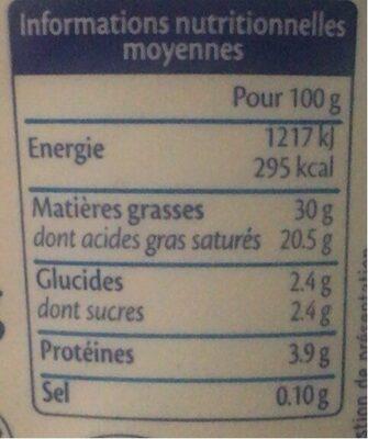 Crème fraiche au lait de brebis - Informations nutritionnelles - fr