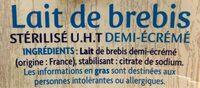 Lait de brebis - Ingrédients - fr