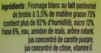 Fromage Blanc Le P'tit Brebis (3,1% MG) - (4 pots) 240 g - Ingrediënten - fr