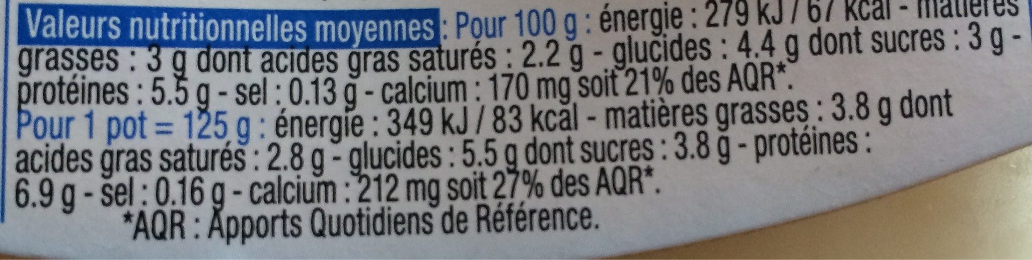 Yaourt de brebis nature - Valori nutrizionali - fr