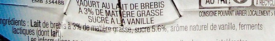 Yaourt de lait de brebis arômatisé à la vanille - Ingrediënten - fr