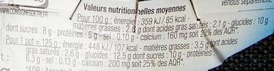 Yaourt de lait de brebis arômatisé à la vanille - Voedingswaarden - fr