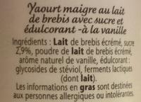 Yaourt de brebis Vanille 0% - Ingrediënten - fr