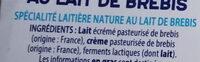 SKYR AU LAIT DE BREBIS - Ingredienti - fr