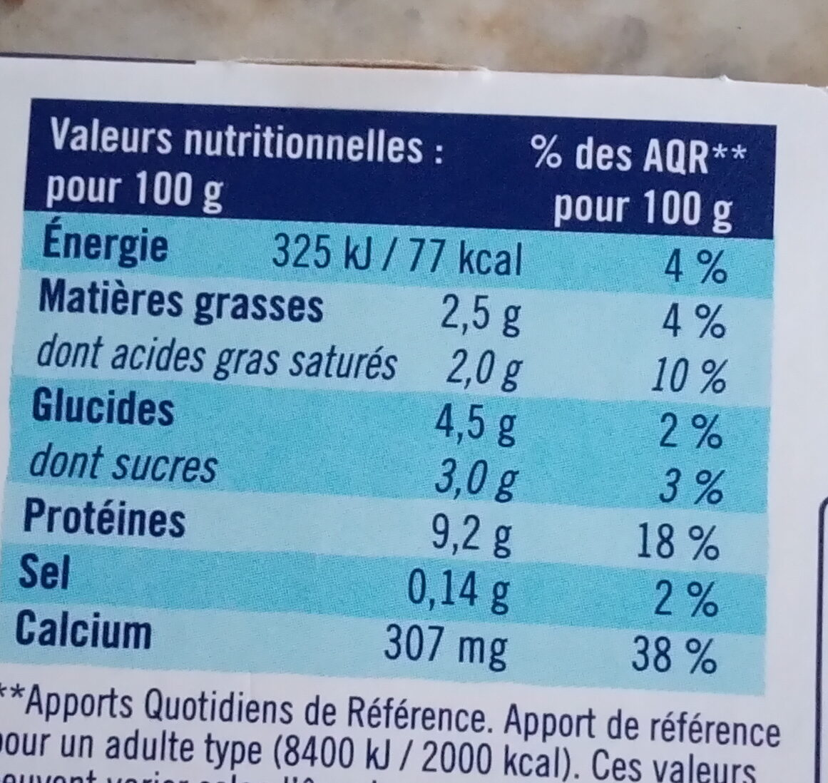 SKYR AU LAIT DE BREBIS - Valori nutrizionali - fr