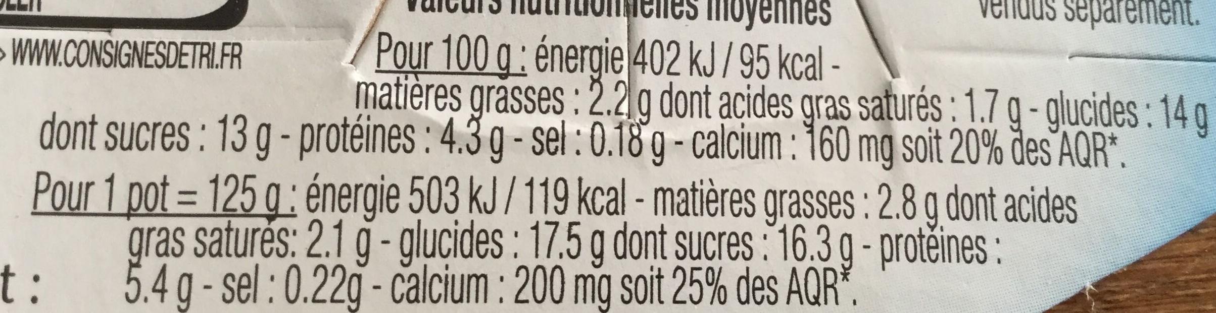 Yaourt de brebis sur lit de fruits rouges (3 % MG) - Informations nutritionnelles - fr