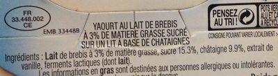 Yaourt de brebis sur Lit de Châtaignes - Ingredients - fr