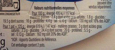 Yaourt de brebis sur Lit de Châtaignes - Nutrition facts - fr
