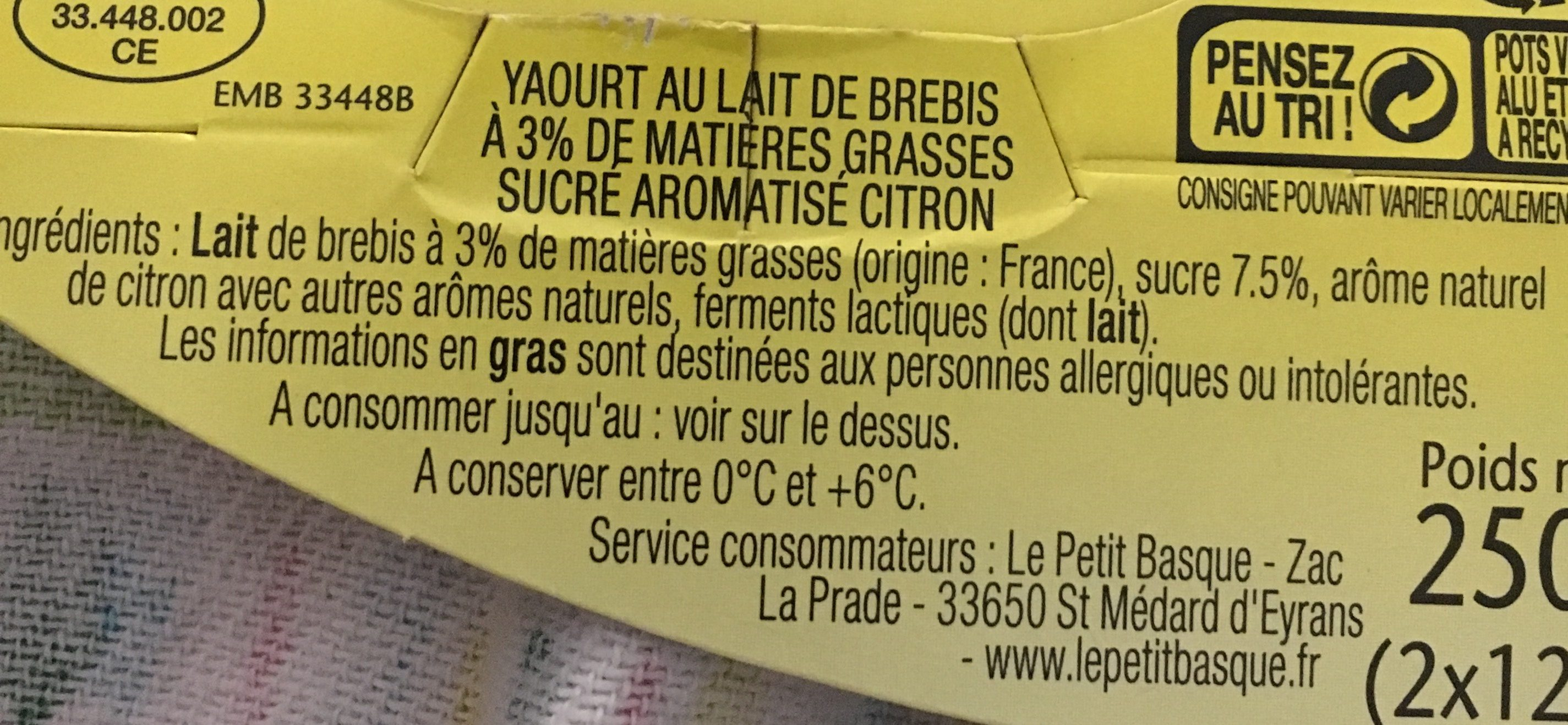 Yaourt de Brebis saveur citron - Ingredients