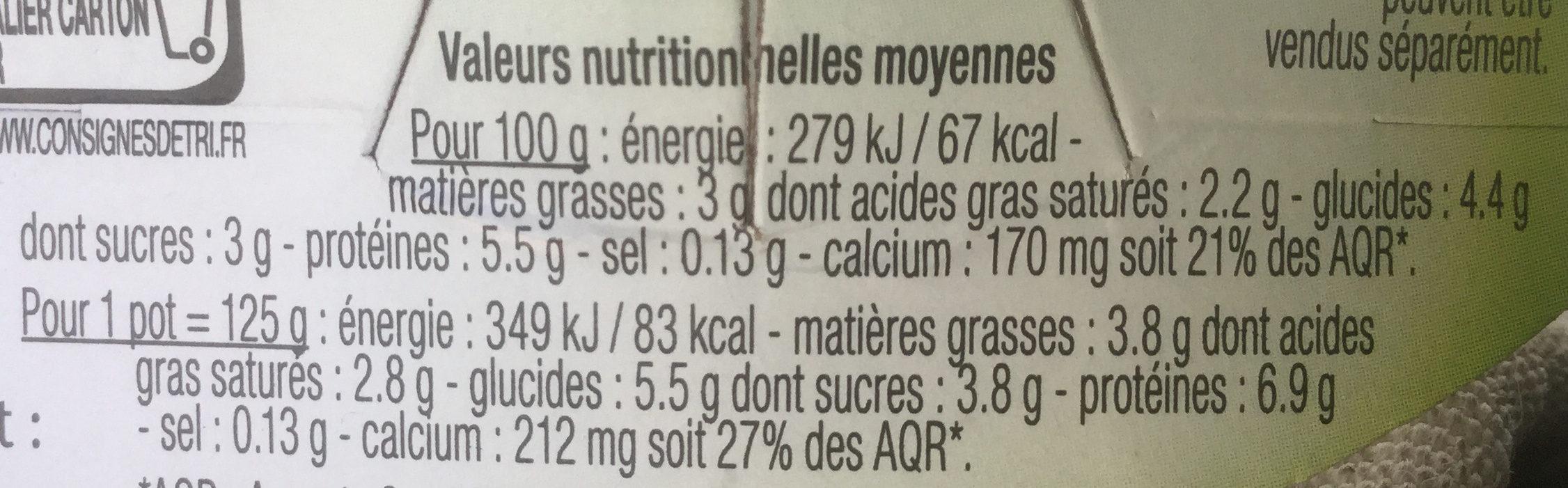 Yaourt brebis - Voedingswaarden - fr