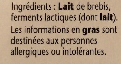 Yaourt Velouté au lait de Brebis - Ingrédients