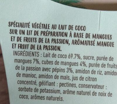 Dessert vegetal au lait de coco - Ingrédients