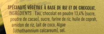 Dessert végétal de riz - Douceur chocolat - Ingredients
