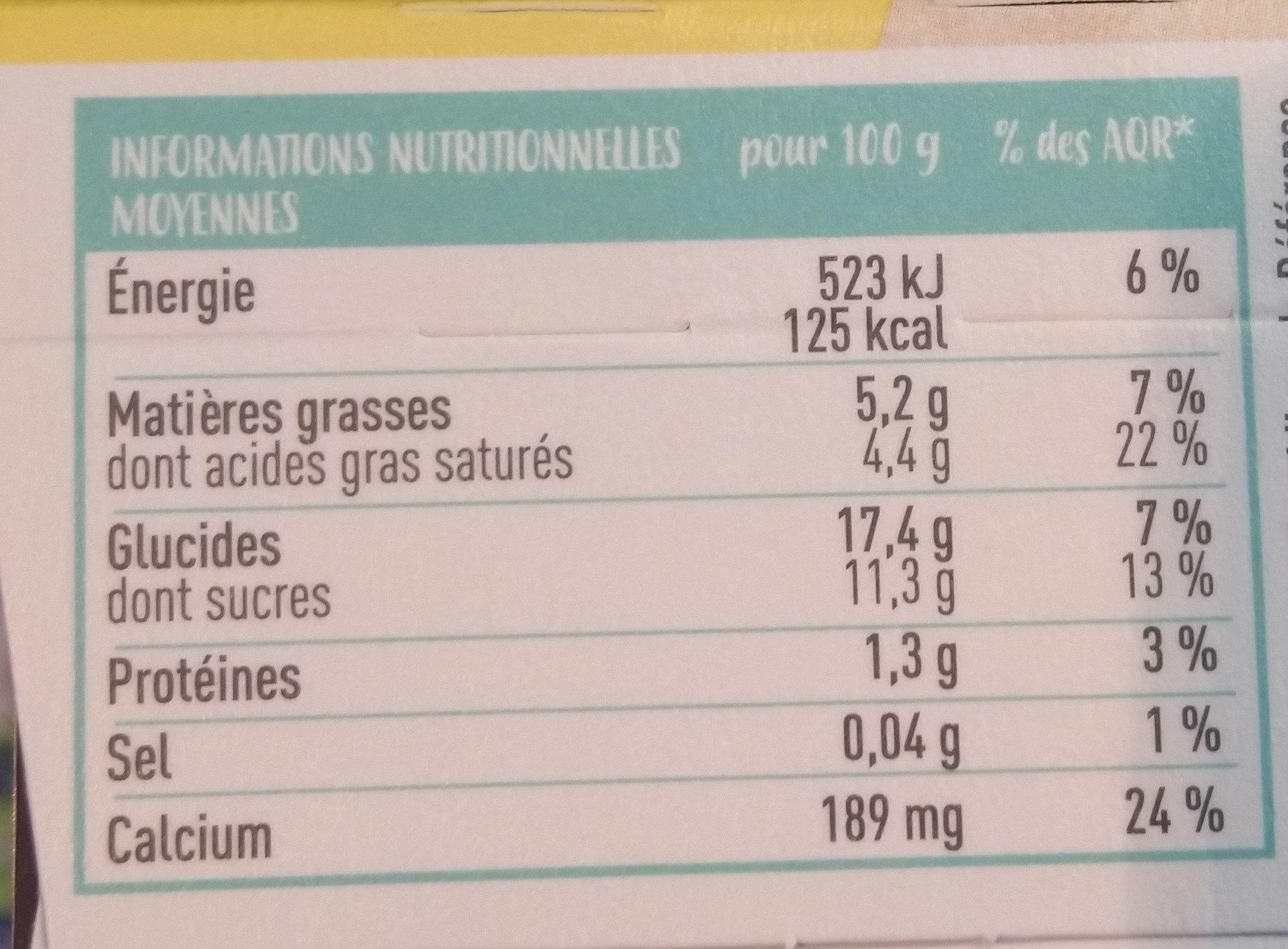 Dessert végétal de riz - Douceur chocolat - Nutrition facts