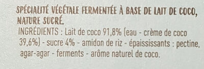 Ferme et onctueux au lait de coco - Ingredients