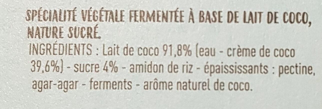 Ferme et onctueux au lait de coco - Ingredients - fr