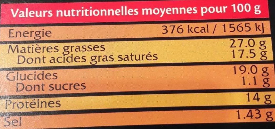 Tarte au Maroilles - Informations nutritionnelles - fr