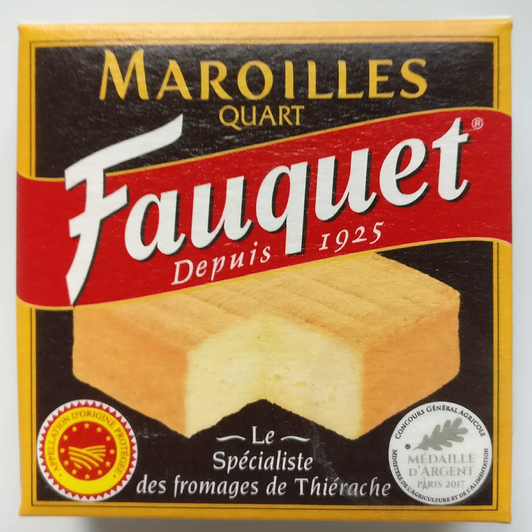 Fauquet maroilles aop quart 210g - Product - fr