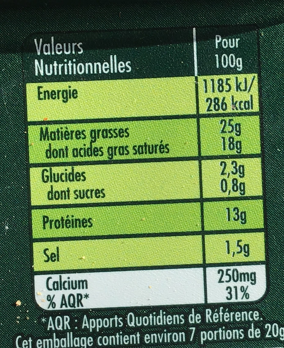 Fromage - Informations nutritionnelles