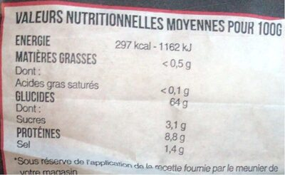 BAGUETTE TRADITION - Valori nutrizionali - fr