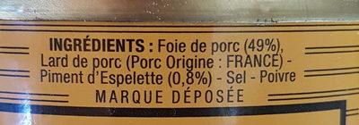 Pâté de Foie de Porc au Piment d'Espelette - Ingrediënten - fr