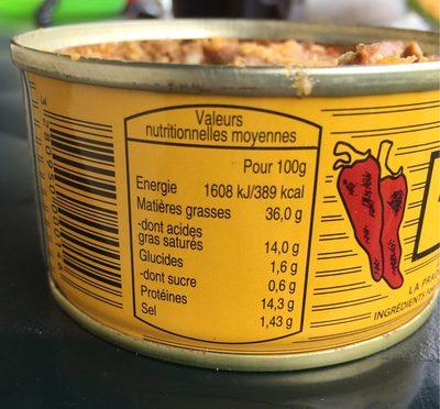 Pâté de Foie de Porc au Piment d'Espelette - Voedingswaarden - fr
