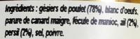 Tartinade de gésiers en persillade - Ingrediënten - fr