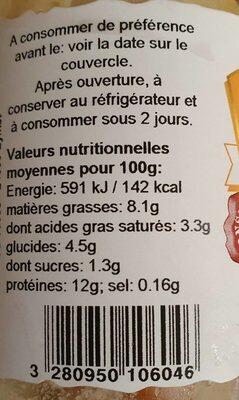 Delice de canard au foie gras - Informations nutritionnelles - fr