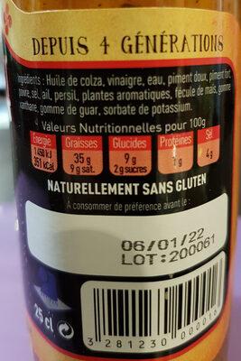 Sauce Basque Forte - Ingrédients - fr