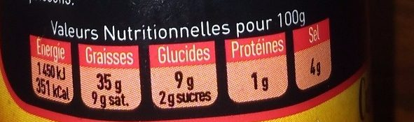 Sauce forte - Nutrition facts