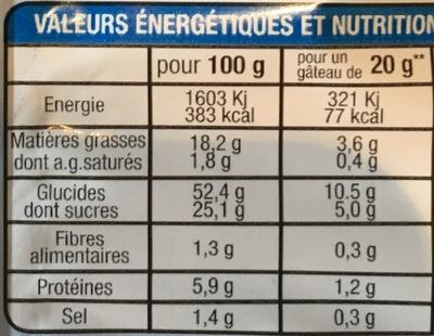 Les Madeleines Nature - Informations nutritionnelles - fr