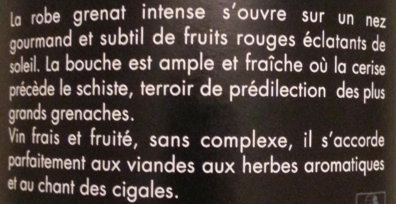 MA - Mas Amiel - Le Plaisir rouge 2011 - Ingrédients - fr