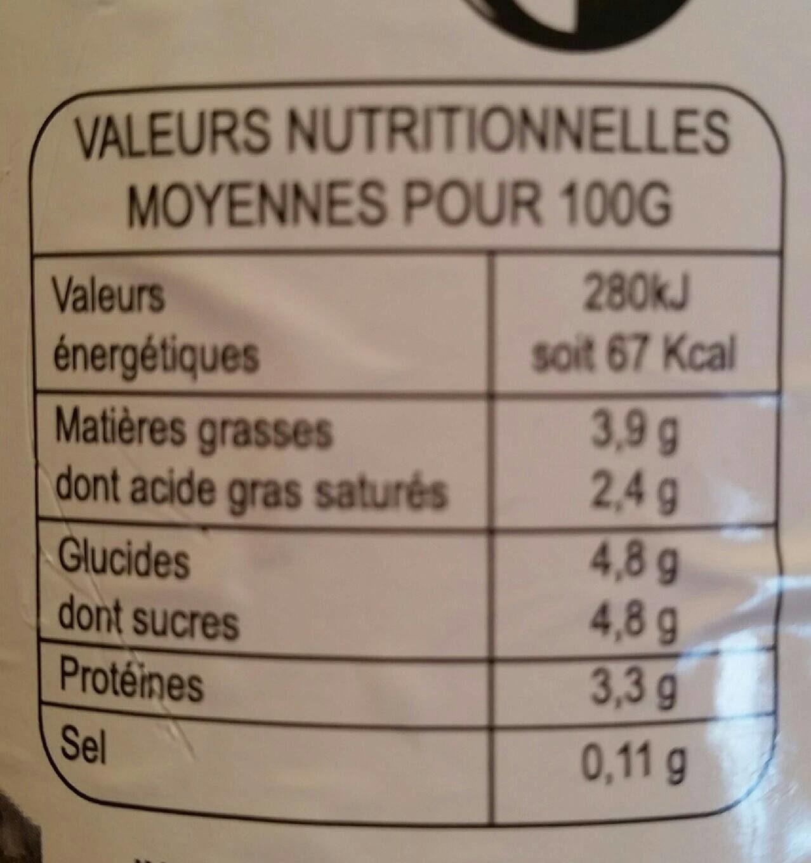 Lait entier pasteurisé - Nutrition facts - fr