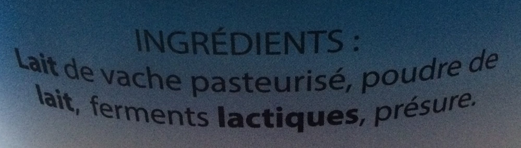 Fromage blanc - Ingredients