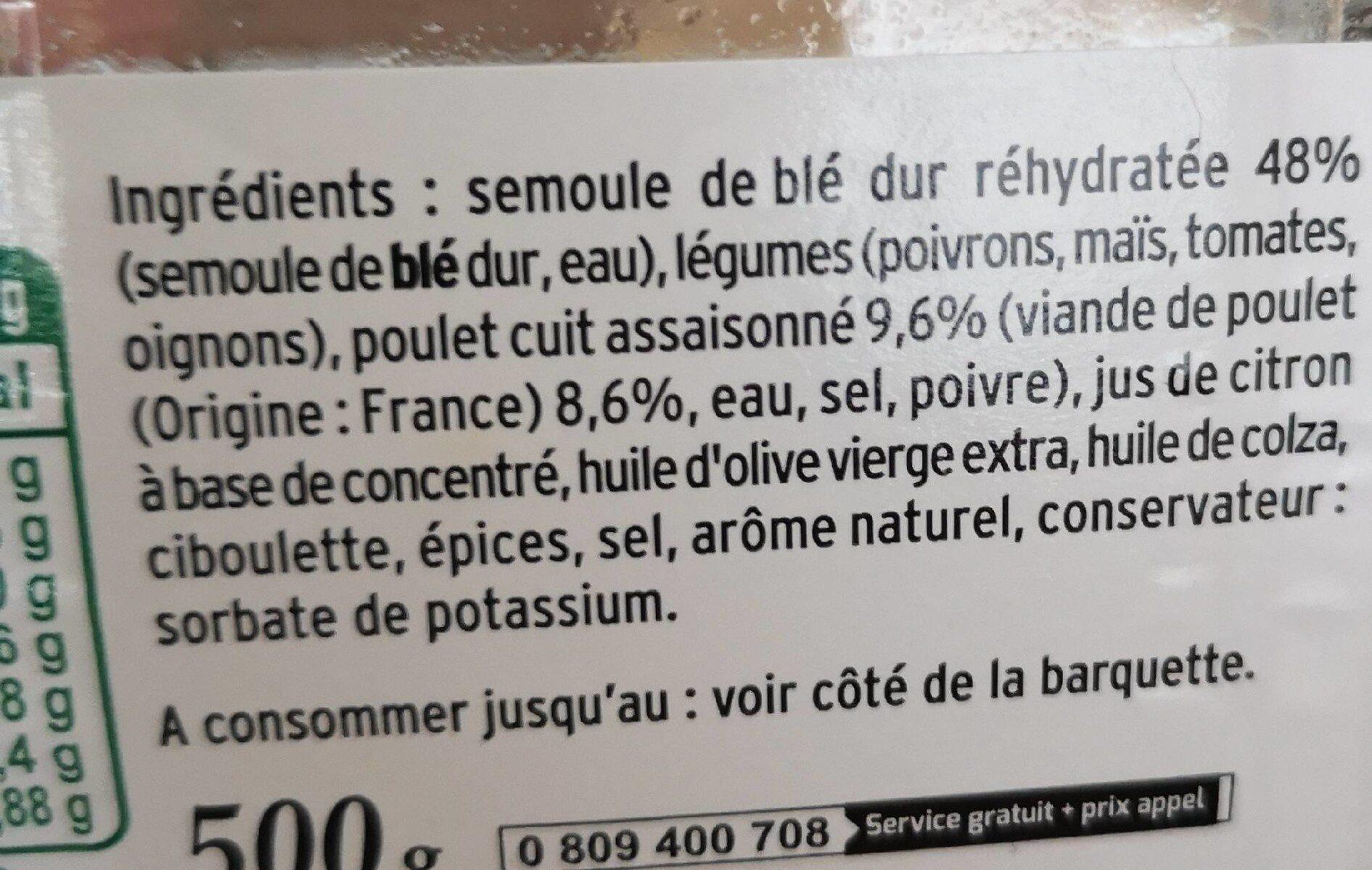Mon Taboulé au Poulet à la ciboulette - Ingrediënten - fr