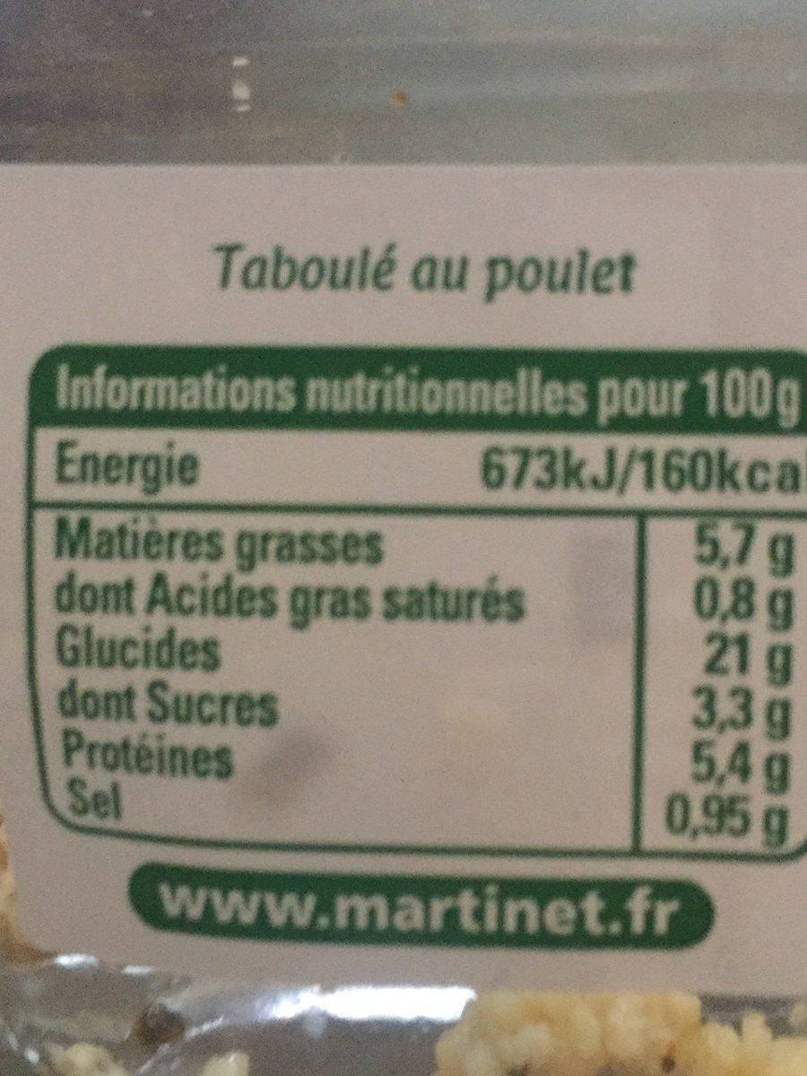 Mon Taboulé au Poulet à la ciboulette - Información nutricional