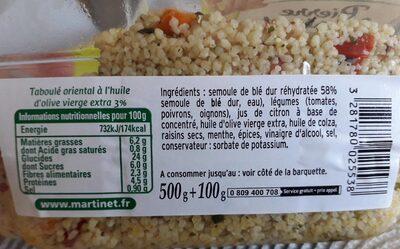 Taboule Oriental - Voedingswaarden - fr