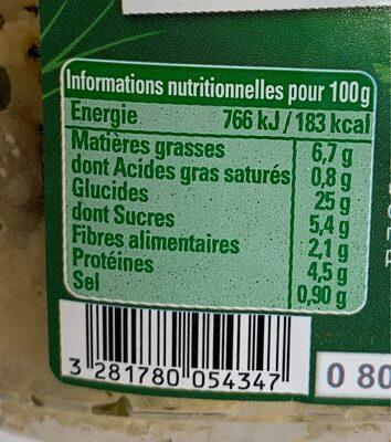 Taboulé oriental à l' huile d'olive vierge extra - Informations nutritionnelles - fr