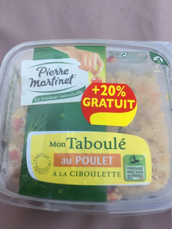 Pierre Martinet Mon taboulé a poulet à la ciboulette la barquette de 300 g - Nutrition facts