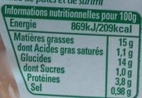 Mes Torti au Surimi à la ciboulette (+20 % offert) - Voedingswaarden