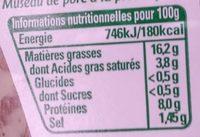 Mon Museau de Porc à la Provençale - Informations nutritionnelles - fr