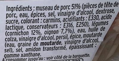 Museau de Porc à la lyonnaise - Ingrédients