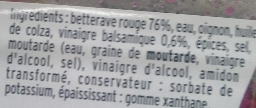 Mes Betteraves Rouges au Vinaigre Balsamique - Ingredientes