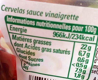 Mon cervelas Sauce Vinaigrette - Informations nutritionnelles