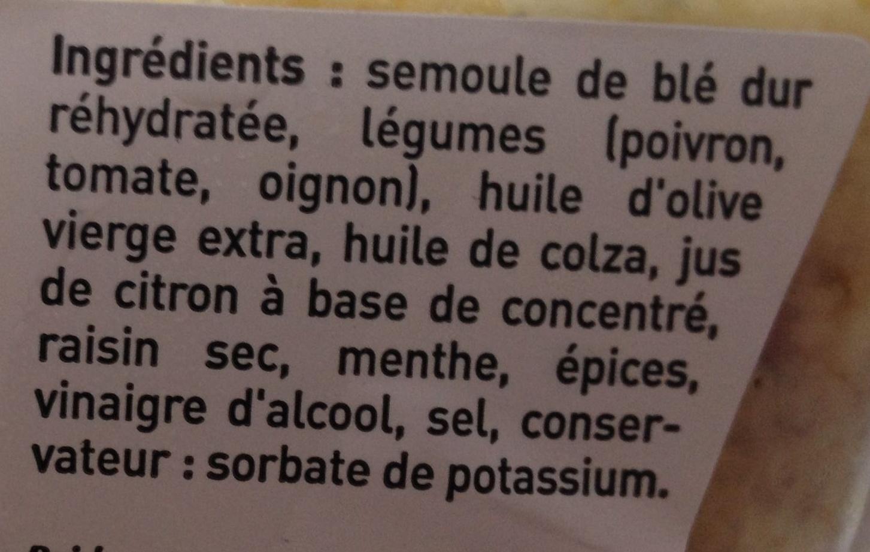 Mon Taboulé Oriental à l'Huile d'Olive Vierge Extra - Ingredients