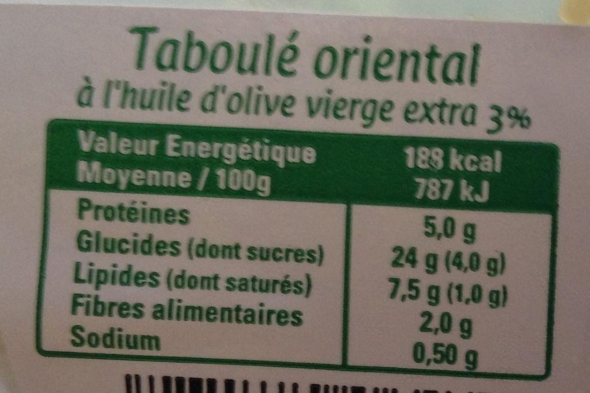 Mon Taboulé Oriental à l'Huile d'Olive Vierge Extra - Nutrition facts