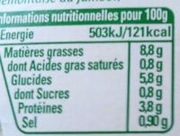 Ma Piémontaise Jambon aux Tomates Fraîches - Informations nutritionnelles